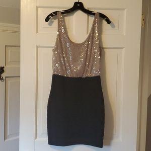 Express nude sequins top black bandage dress
